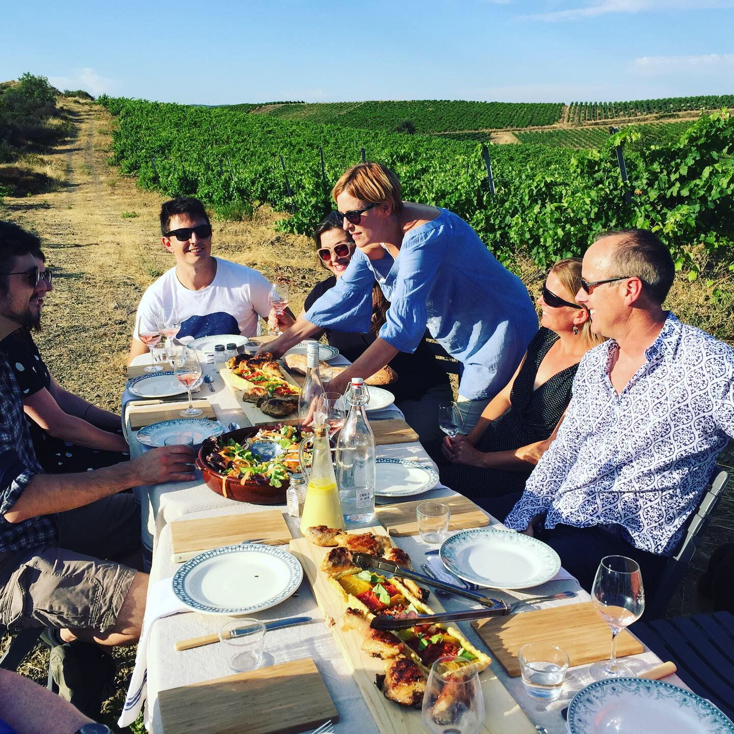 chic picnic at a table in the vineyards