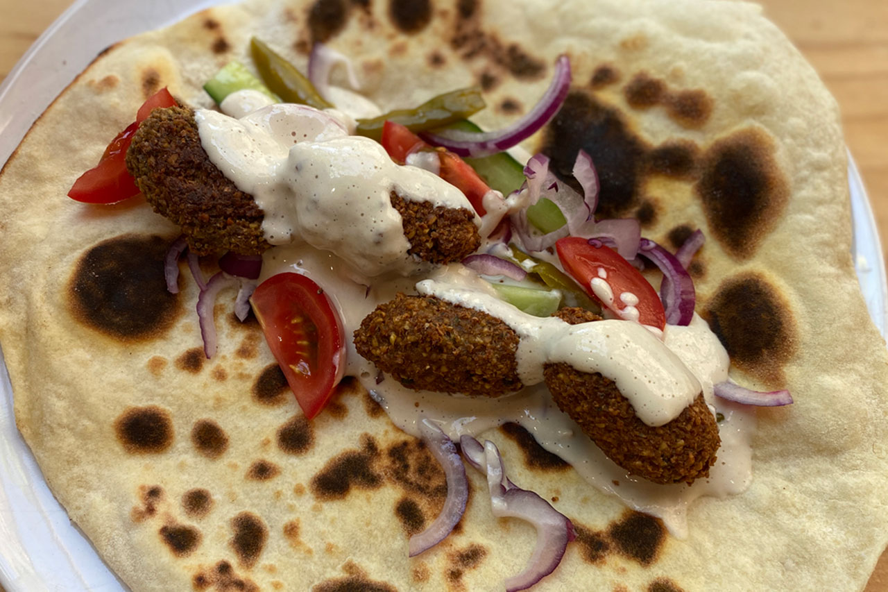 falafel on arabic flatbread